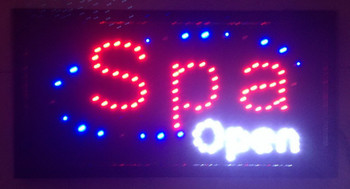 2017 Graphics New Spa store open , Eye Catching And White Surrounding Flashing Lights Animated Led Sign 10X19 inch-