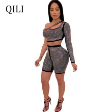 QILI One Shoulder Jumpsuit Women Diamonds Rhinestone Rompers Long Sleeve Hollow Out Two Piece Set  Black Blue