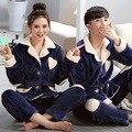 Amantes Pijamas Set Para As Mulheres Azul Marinho Homens Casuais Camisola de Inverno Pijamas de Flanela Grossa Turn-down Collar Sleepwear Unisex adulto