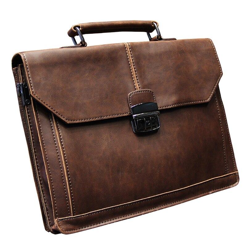 Vintage Men S Bag Crazy Horse Pu Leather File Briefcase