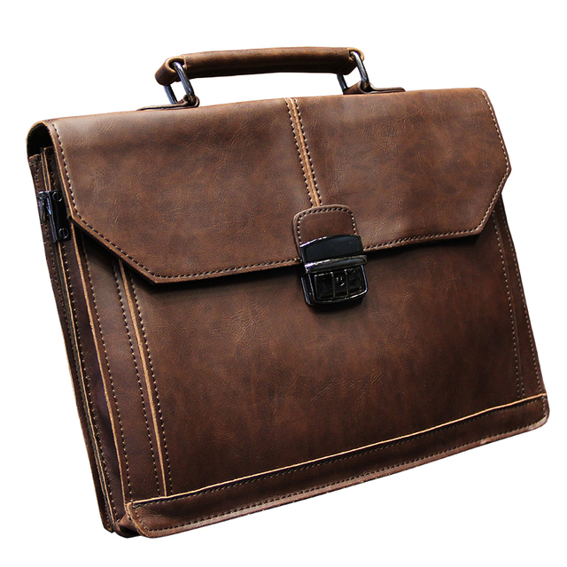 Vintage Men S Bag Crazy Horse Pu Leather File Briefcase Messenger Bags Fashion Portfolio 12