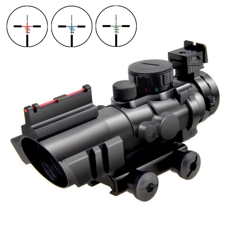 Nouvelle portée de fusil tactique 4X32 portée prismatique avec Fiber Airsoft rouge/vert point optique vue Tri-illuminé BDC Mount + CR2032 batterie