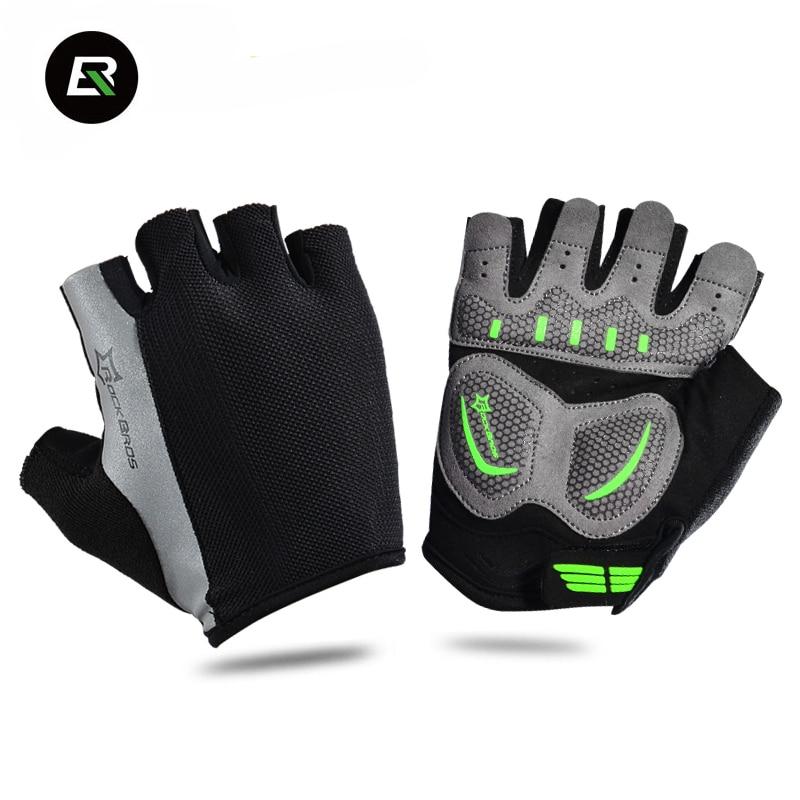 RockBros Half Finger Cycling <font><b>Gloves</b></font> MTB Downhill <font><b>Gloves</b></font> Black Shockproof Gants Velo Road Bike Bicycle <font><b>Gloves</b></font> Guantes Ciclismo