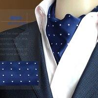 Fashion Polka Dot Men Long Scarves Cravat Ascot Ties Handkerchief Gentlemen Formal Neck Tie Royal Bule