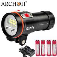 ARCHON погружения Фонарик D37VP W43VP водолаза свет 5200LM * XM L2 светодио дный подводной фотографии видео пятно света красный УФ факел