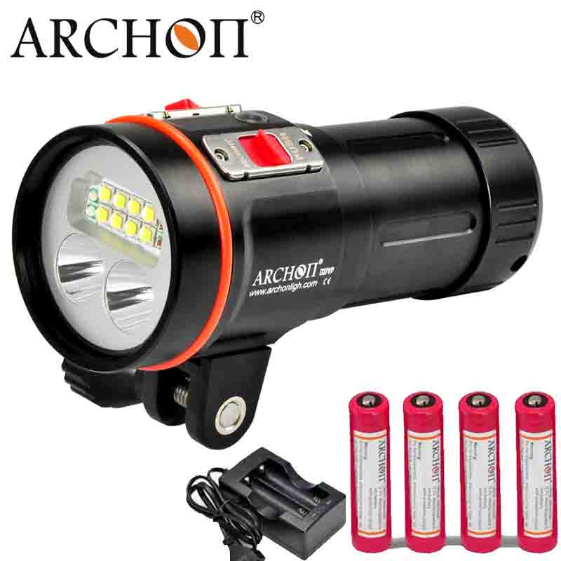 ARCHON Dive Flashlight D37VP W43VP Diver Diving Light 5200LM CREE XM-L2 Led Underwater Photography Video Spot Light Red UV Torch 100% original archon d37vp update d36vr w42vr u2 uv multifunction underwater photographing sea diving flashlight video light