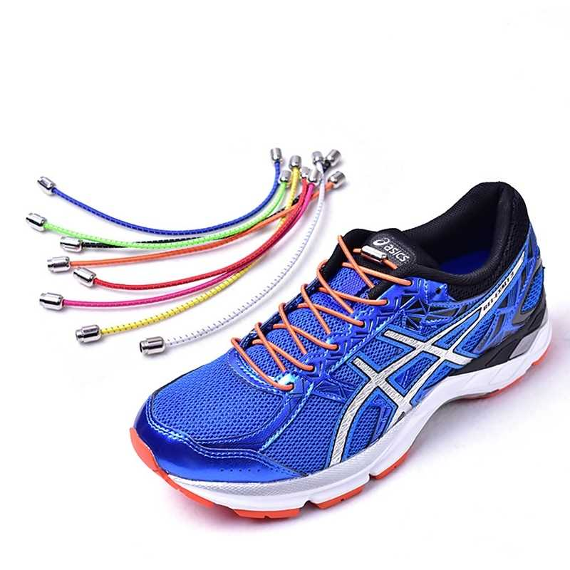 21eeaf997 ... 1Pair No Tie Shoelaces Elastic Locking Round Shoe Laces Kids Adult  Sneakers Quick Shoelace Shoe Laces