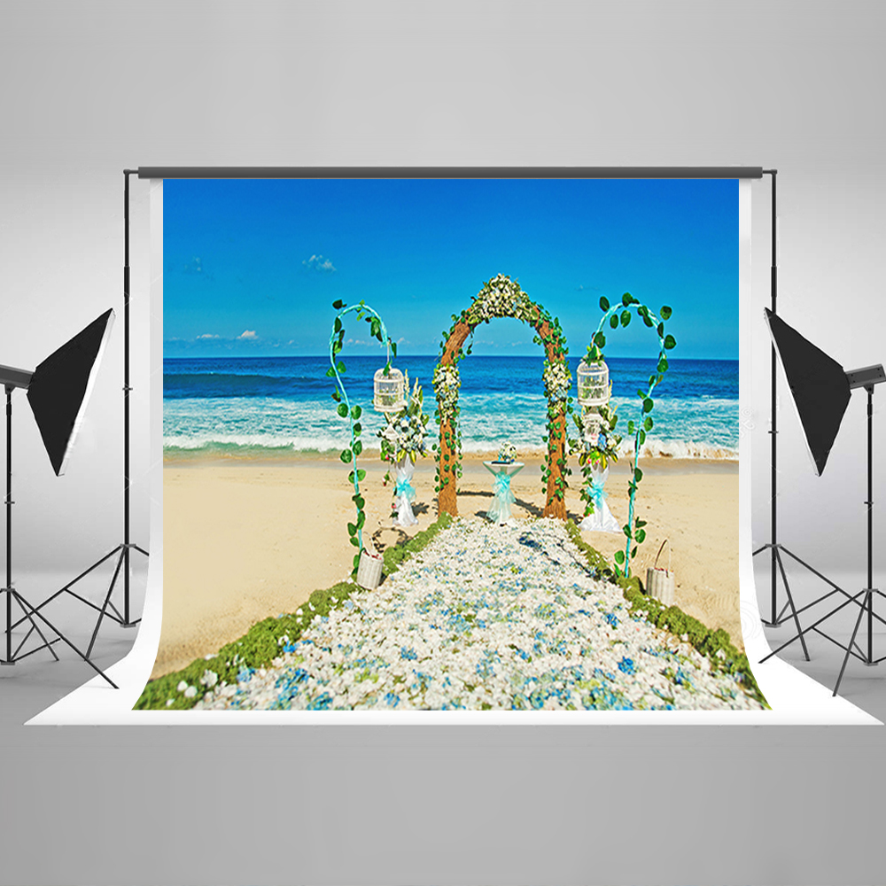 Valentine's Day Background Blue Sky And White Clouds Party Photo Backdrops Sea Beach Flowers Backdrops for Photographic Studio blue sky white clouds beach coconut tree backdrops fotografia fundo fotografico natal background photograph