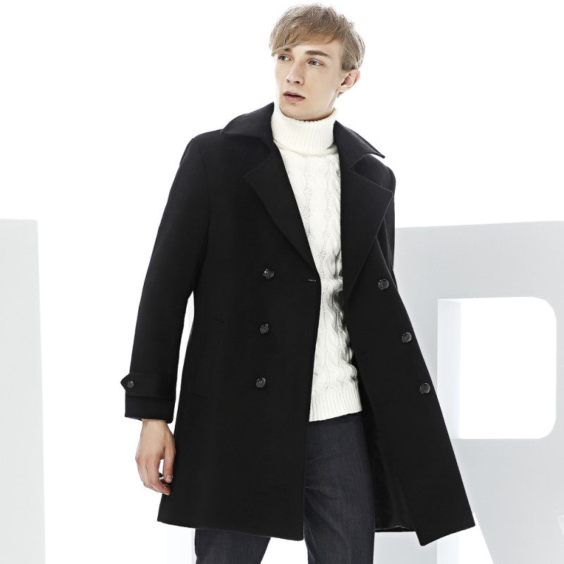 New Arrive Wool Coat Medium-Long Trench Male Wool Overcoat Black Double Breasted Woolen Outerwear tote bags for work
