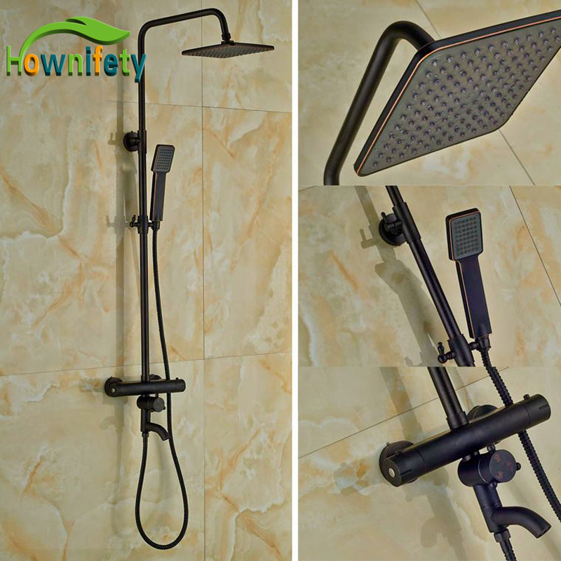Luxury Thermostatic Shower Bath Rainfall Shower Set Oil Rubbed Bronze Shower allen roth brinkley handsome oil rubbed bronze metal toothbrush holder