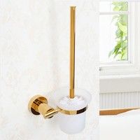 Gold plated brass Toilet brush holder with glass cup High quality Bathroom hardware accessories