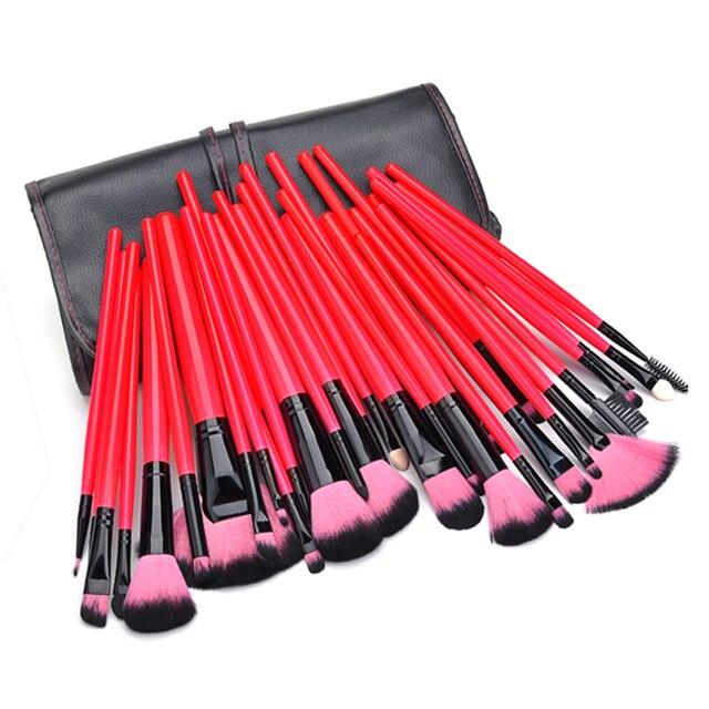Lucky red color 32 unids pinceles de maquillaje profesional set maquillaje herramientas de Pelo Suave Kit de Sombra de Ojos cosméticos con Bolsa de Cuero de LA PU #5 k