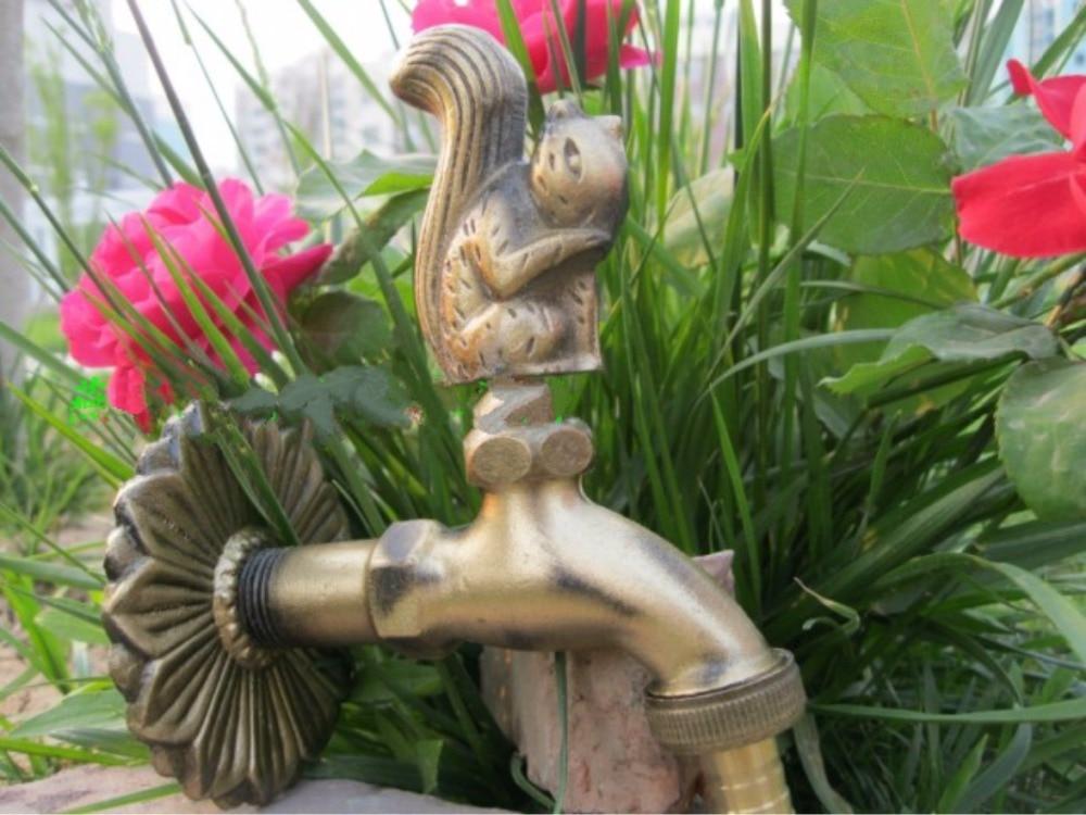 все цены на Decorative outdoor faucet rural animal shape garden Bibcock with antique bronze squirrel for washing machine tap