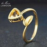 LAMOON 6มิลลิเมตร2.4ct 100%สามเหลี่ยมธรรมชาติซิทรินแหวนปรับ925