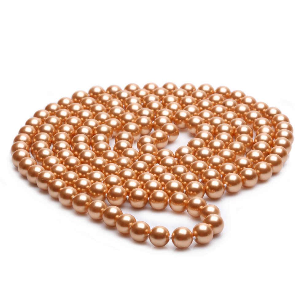 Женские парики для волос, хит продаж, бесплатная доставка, длинный канат 8 мм, 48 дюймов, Золотая круглая форма, морская раковина, жемчужное ожерелье с бусинами