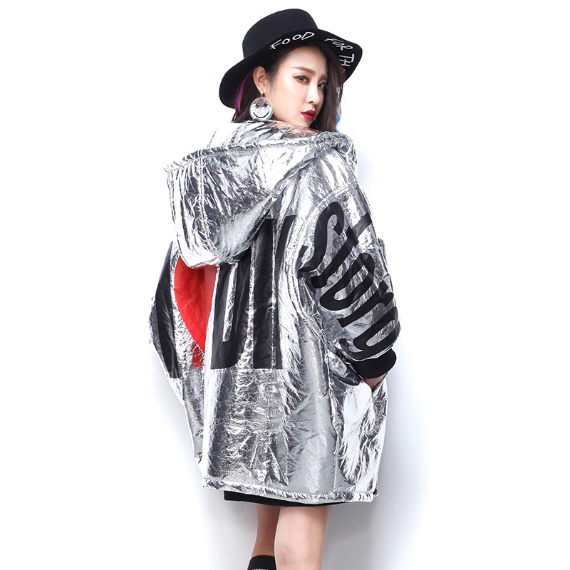 Winter Russian Fashion Clothing Women Warm Hooded Thicken Long Parka Coats Black Silver Letters Wadded Jacket Bat Sleeve Outwear