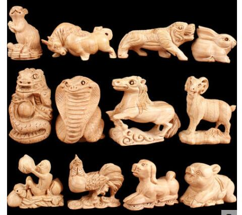 Peach wood zodiac wood carving household Arts and craft Hand handle Rat ox tiger rabbit dragon snake horse sheep monkey chicken