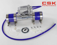 silver Aluminum Billet Anodized Type 4 SQV Blow Off Valve BOV +2.5 Flange Pipe +4mm Blue vaccum hose +Silicone +clamps