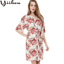 New women's summer and autumn cotton printed pajamas women's comfortable sexy robe bathrobes home service pajamas
