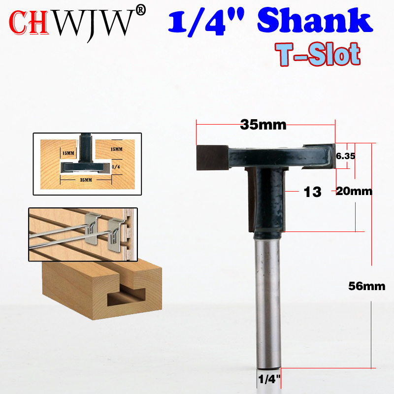 "Купить с кэшбэком 1pcs  1/4"" 8mm 1/2'' Shank Top Quality T-Slot & T-Track Slotting Router Bit  For Woodworking Chisel Cutter Wholesale Price"