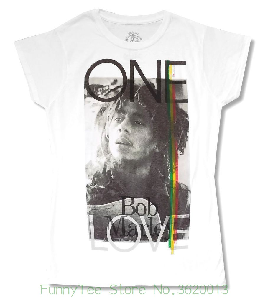 Womens Tee Bob Marley One Love Girls Juniors White T Shirt New Official Soft Women Casual T-shirt