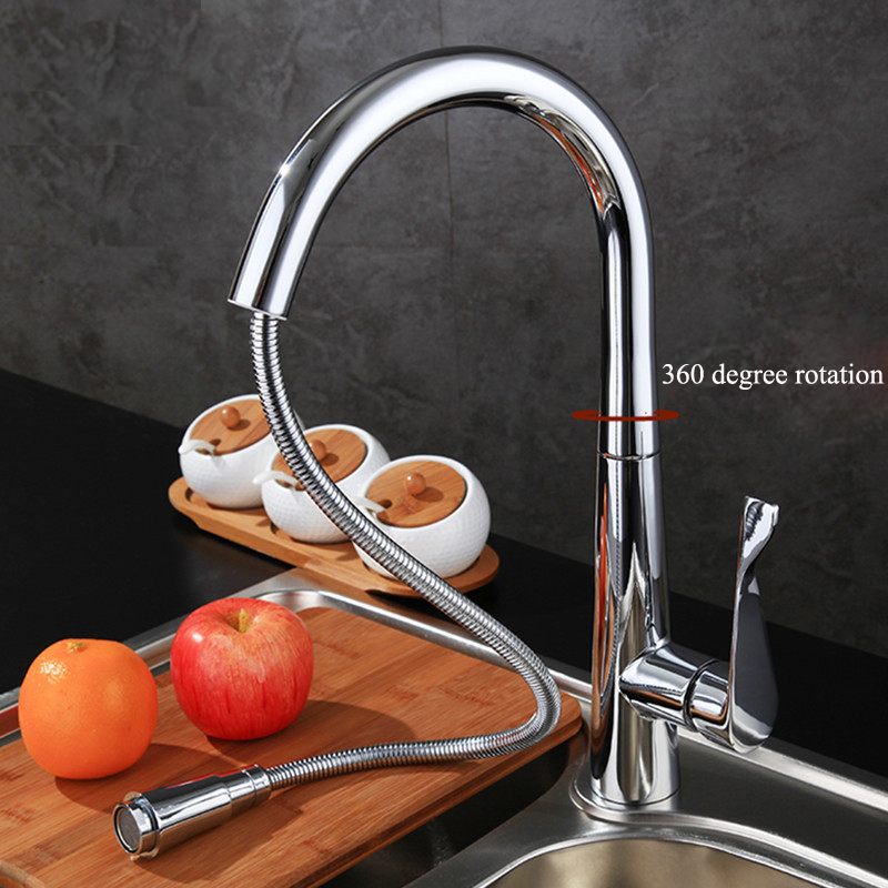 New Design Pull Out Kitchen Faucet 360 Rotating Chrome kitchen Sink Mixer Tap Brass Faucets Hot Cold With G1/2 Pipe spring pull out kitchen sprayer faucet brass material modern chrome double faucet design hot and cold wash basin sink mixer tap