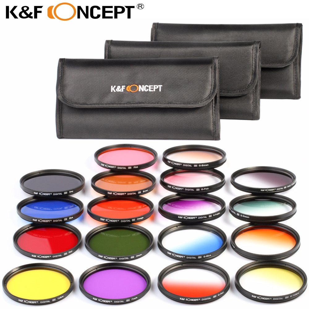 K&F CONCEPT 18pcs Full Color Filter Kit + Graduated Filter Kit for Nikon D5300 D5200 D5100 D3100 DSLR Cameras Lens+ Filter Pouch square resin full color filter for dslr blue