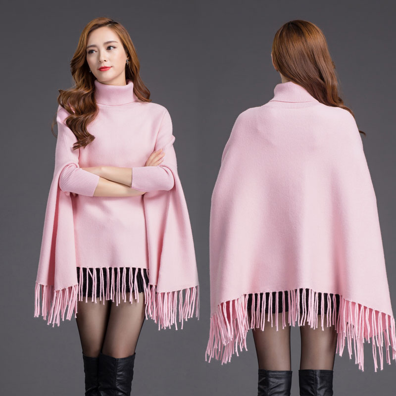 Euramerican Women Batwing Sleeve New Winter Solid Color Tassels Hem Style Cloak Cape Tops Knitted Poncho Sweater Coat Shawl