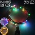 USB Диммер RGB Фонарик 5 М 50 Светодиодов Медный Провод Свет Шнура Открытый Фея Лампы Свадьбы Рождество Украшения Для дома