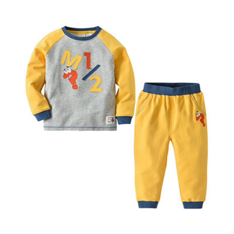 2019 New Childrens Long-Sleeved Suit Autumn and Winter Models Cotton Letter Boys Long-Sleeved Two-Piece Suit2019 New Childrens Long-Sleeved Suit Autumn and Winter Models Cotton Letter Boys Long-Sleeved Two-Piece Suit