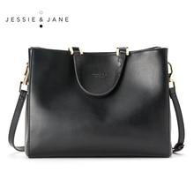 JESSIE & JANE Designer Brand Women's Simple Split Leather Handbag 1123