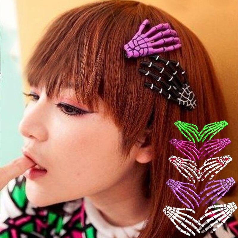Novelty Hand Bones Hairclip Multicolor Plastic Terror Human Skeleton Clip Fluorescence Cosplay  Hair Pins Hair Accessories