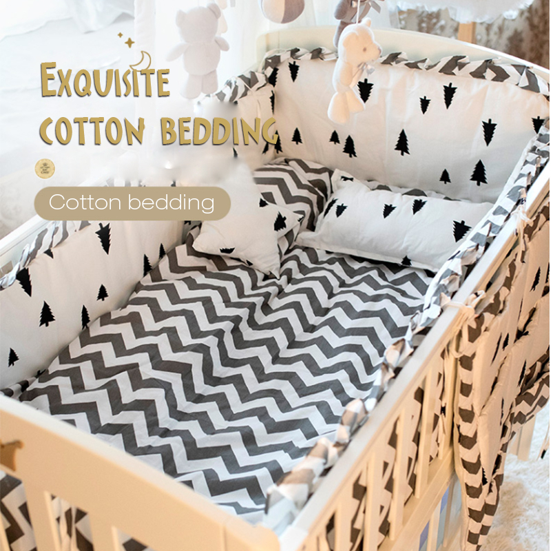 Multiple Sizes Baby Crib Bedding Four Or Five Set Pure Cotton Defence Collide Can Unpick And Wash Full Cotton Bumper Pillow