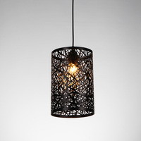 1PC Iron hanging hollow pendant lights personality bar restaurant barber clothing store coffee shop hotel black pendant lamps ZA