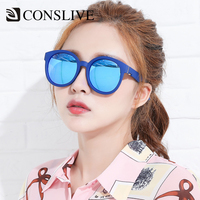 2019 Original Red Yellow Blue Mirror Sunglasses Women UV 400 Black Dark Round Sunglasses Polarized Sun Shades