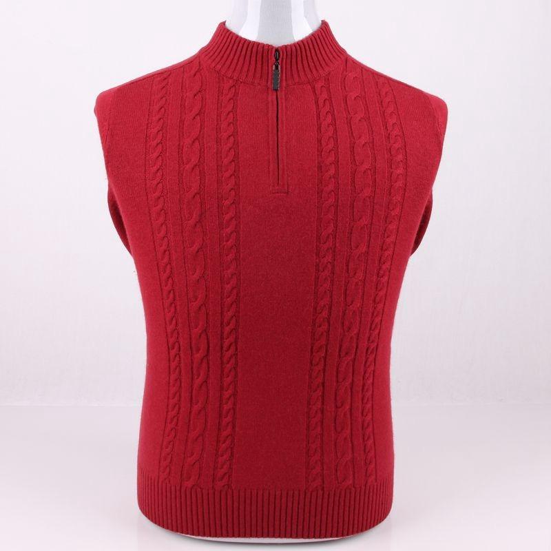 Grande taille pure chèvre cachemire torsadé épais tricot hommes pull manteau zipper col haut EU/S105-4XL135 vente en gros