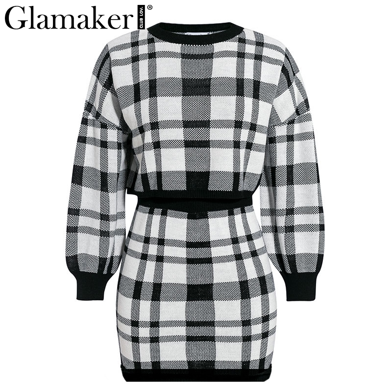 Glamaker Plaid knitted two-piece suit sexy autumn Dress women elegant winter sweater dress Sexy female fashion party short dress