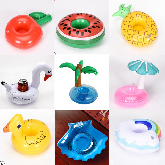 Inflatable toys Coconut tree/big yellow duck/mushroom/swan Cup mat Water coasters floating drinks cup holders Summer Pool party