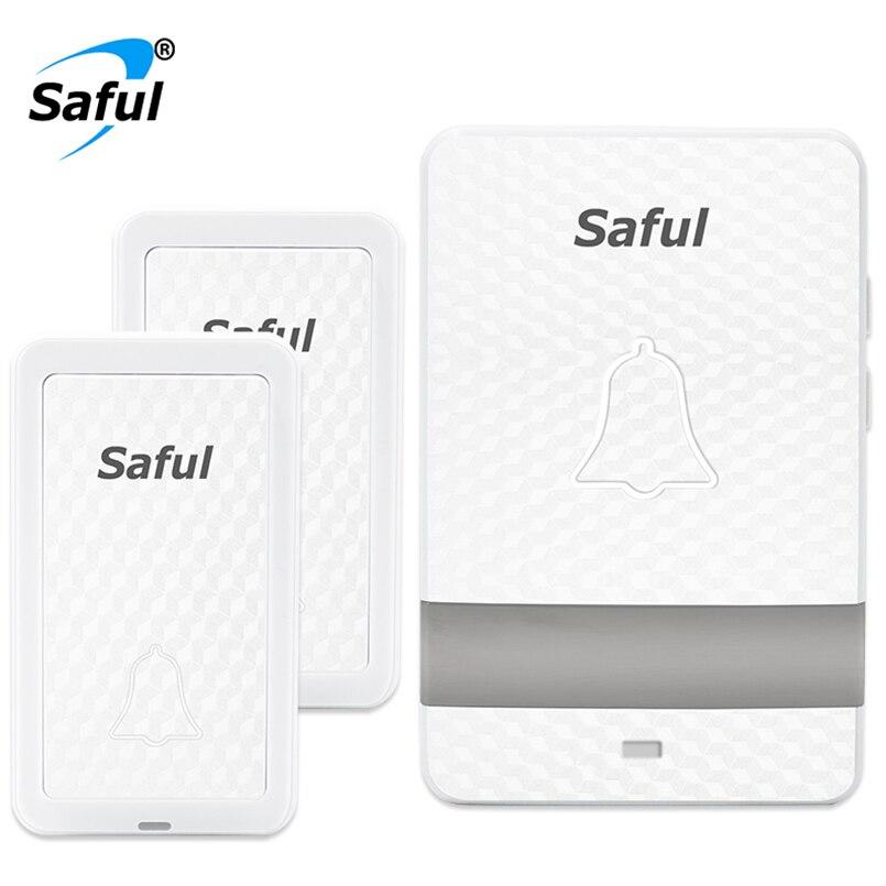 Saful self-powered Waterproof Wireless DoorBell Long Distance White colour 2 Outdoor Button +1 Indoor Receiver EU/UK/US/AU plug saful self powered waterproof wireless