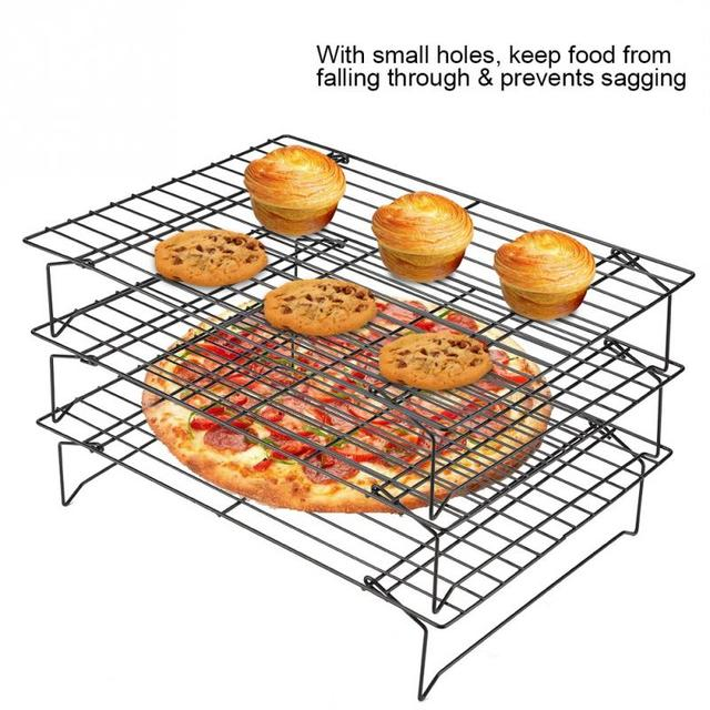3 Layers stackable cooling rack metal cake cookie biscuits bread cooling rack net mat holder dry cooler for cooking