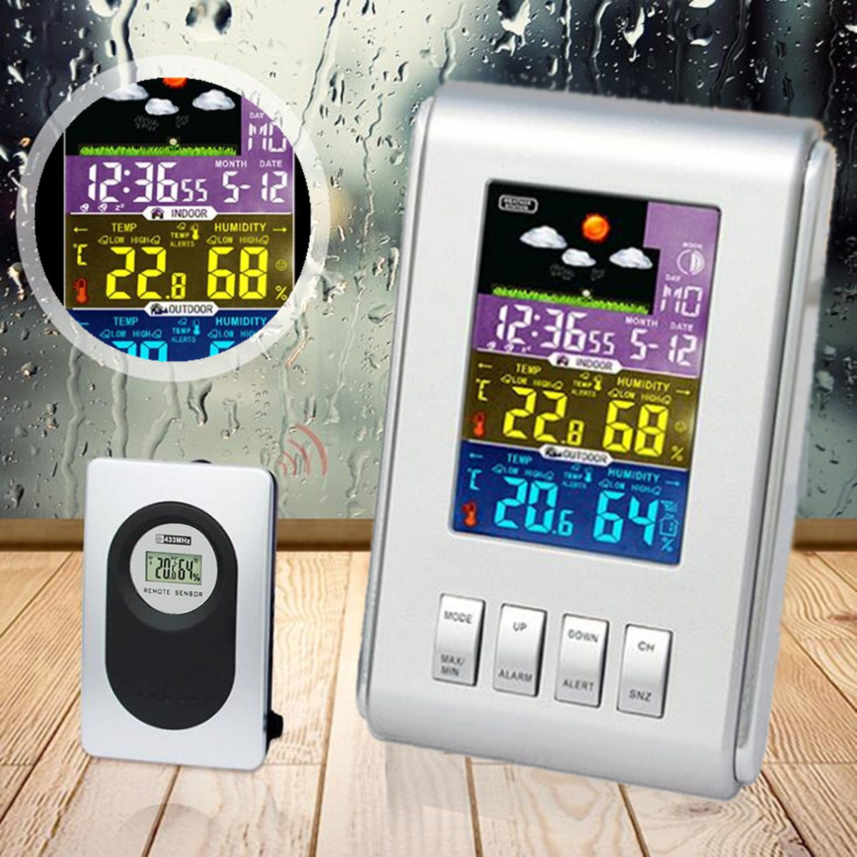 H103G Color Wireless LCD Clock Indoor Outdoor Weather Station Temperature Humidity Meter Sensor Hygrometer Digital Thermometer wireless weather station digital color lcd thermometer forecaster clock indoor outdoor humidity meter with remote sensor 50% off