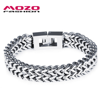 New Arrival Fashion Men S Jewelry Punk Rock Style Double Layer Stainless Steel Bracelet Bangle Man