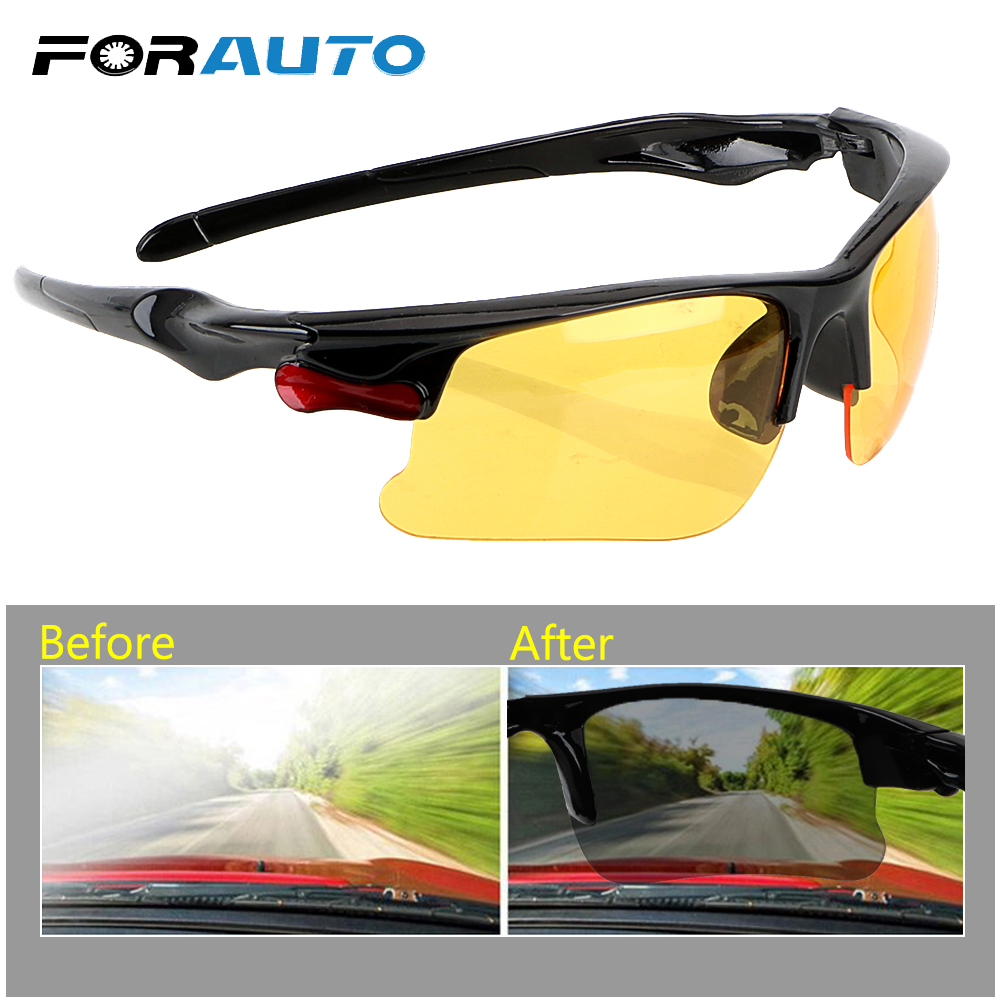 FORAUTO Car Driving Glasses Night-Vision Glasses Protective Gears Sunglasses Night Vision Drivers Goggles