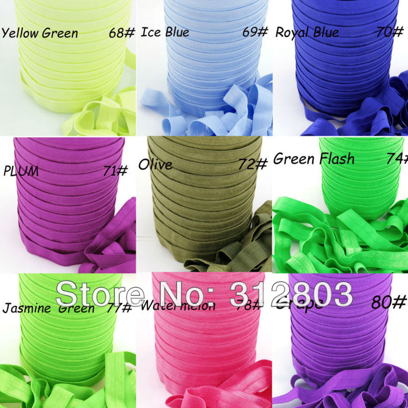 91 COLORS! 5/8 Fold Over Elastic, SOLIDS FOE, Fold Over Elastic - DIY headband, 5 Yard Spool from COLOR 68# to COLOR 91# цена