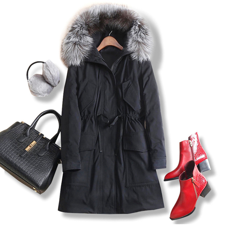 2017 New Winter White Duck Down Jackets Medium-long Thick Overcoat Solid Color Slim Waist Female Down Parkas Real Fur Outwear new 2017 fashion girls winter coats female child down jackets top quality outerwear medium long thick 90% duck down parkas