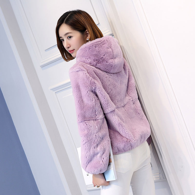 Hooded Natural Rex Rabbit Fur Coats Outerwear Women Whole Skin Short Style Thick Warm Winter Fur Jackets 2019 New Arrival