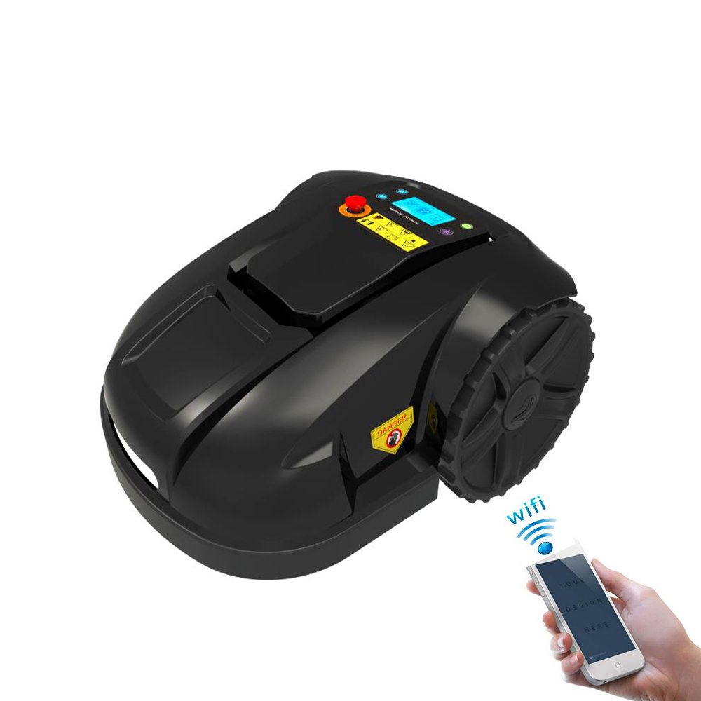 WIFI control robot lawn mover glass cutter with mowing schedule, LCD display, Rain sensor,waterproof