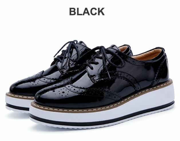58391159458 Women Platform Oxfords Brogue Patent Leather Flats Lace Up Shoes Pointed  Toe Creepers Vintage luxury beige wine red Black