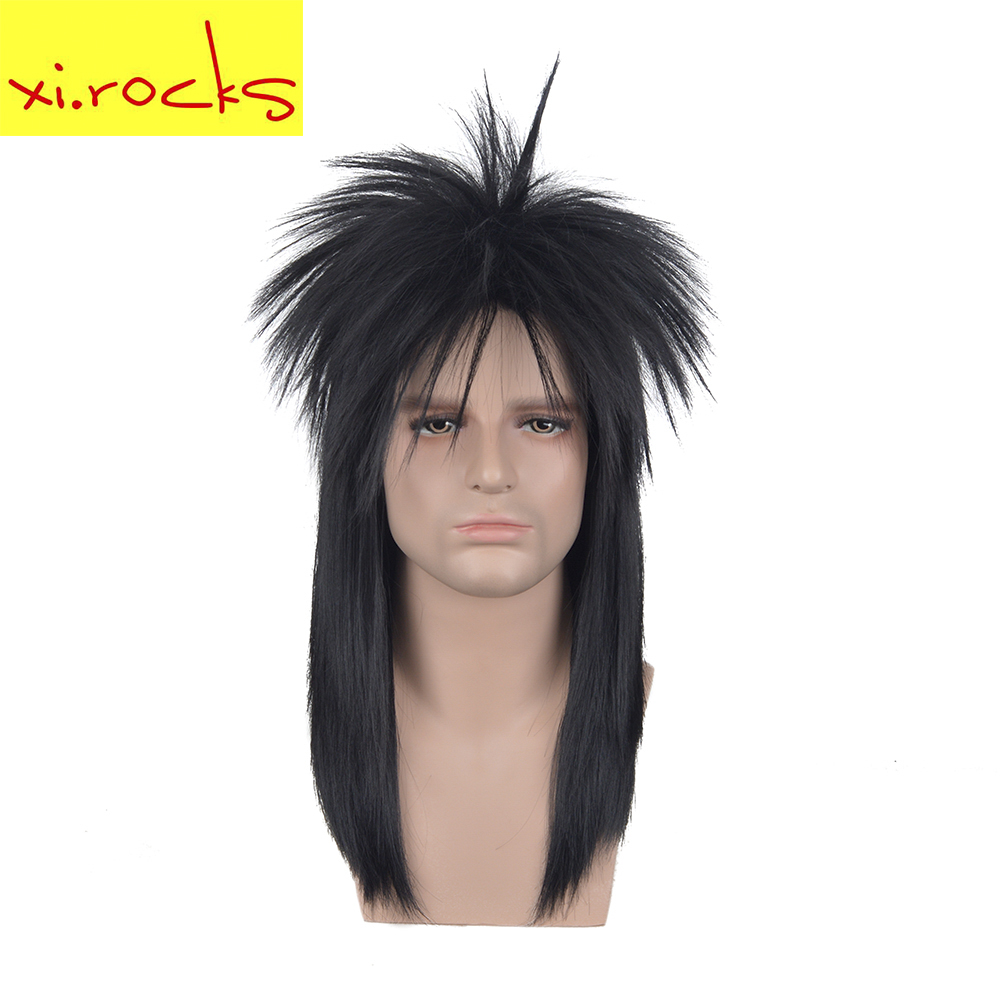 3617 Xi.rock Medium Length Straight Rocking Dude Black Synthetic Stylish Art EMO Punk Metal Rocker Disco Mullet Cosplay Wig Wigs