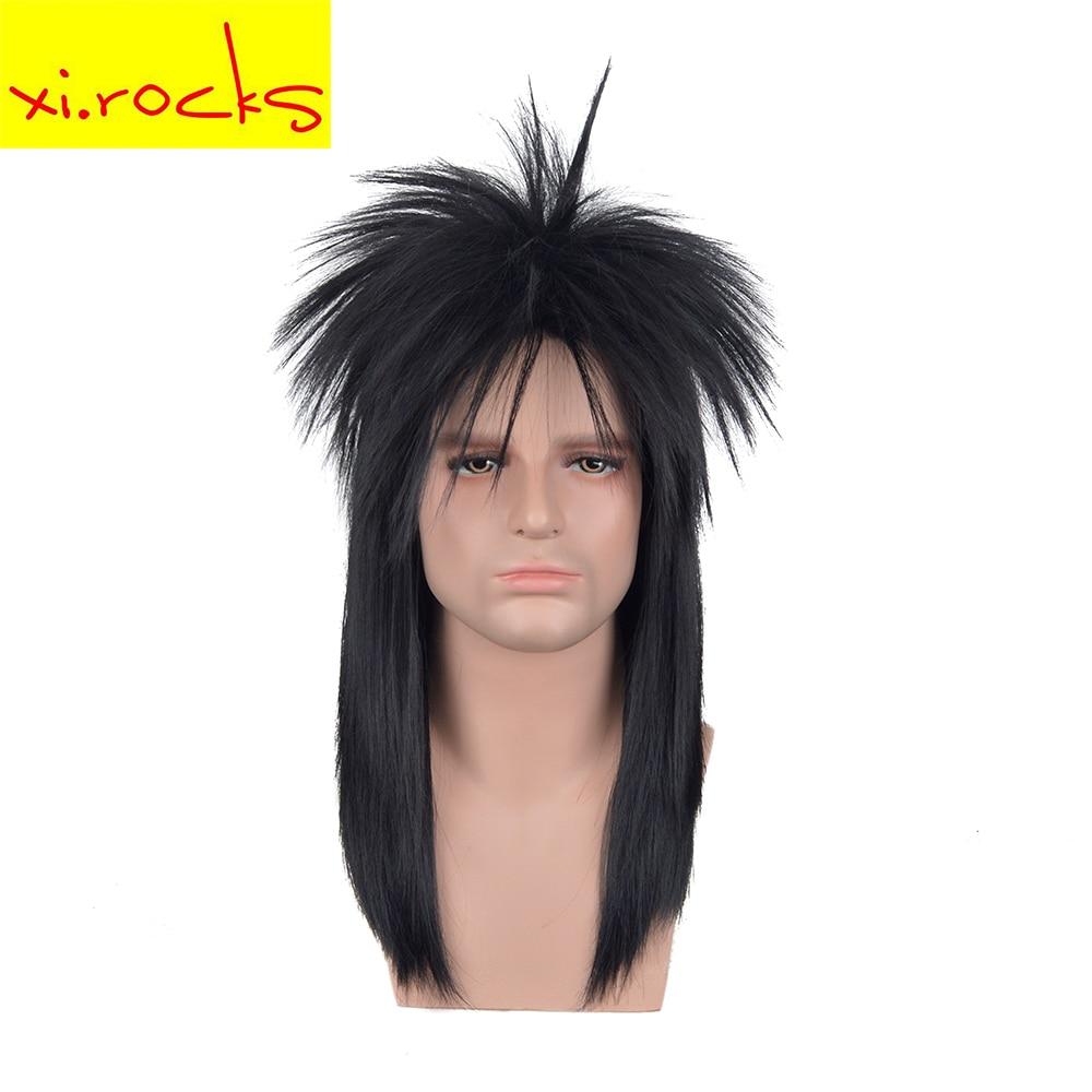 3617 Xi.rock Medium Length Straight Rocking Dude Black Synthetic Stylish Art EMO Punk Metal Rocker Disco Mullet Cosplay Wig Wigs